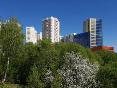 city landscape in an ecologically clean place in city of Khimki, Russia