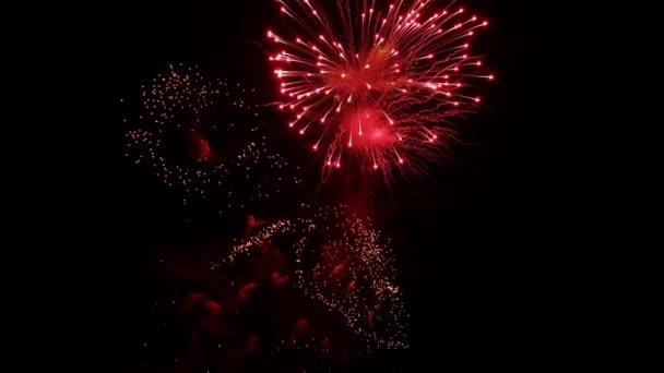 Das schöne Feuerwerk gegen den schwarzen Himmel in Moskau, Russland