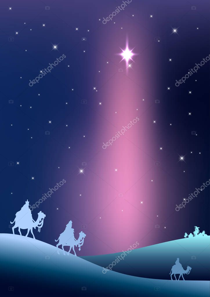 Biblical Christmas vector illustration with three Wise Men — Stock ...