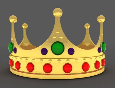 Gold crown isolated . 3d rendered illustration
