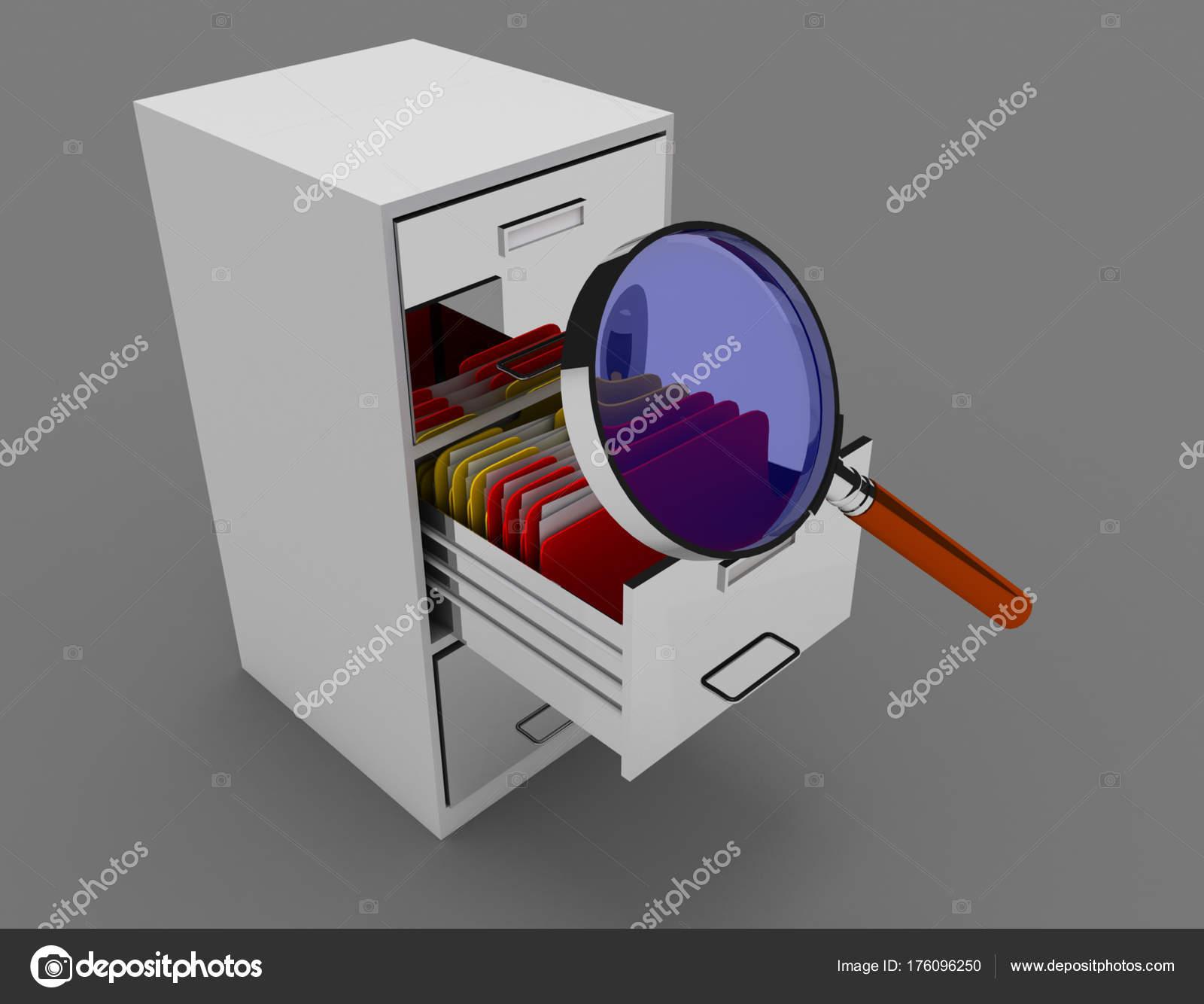 gabinete de archivo 3D. Ilustración procesada 3D — Fotos de Stock ...