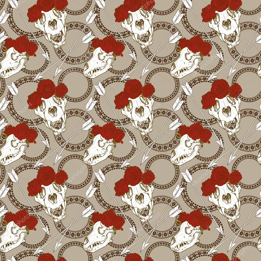animal skulls and red roses seamless