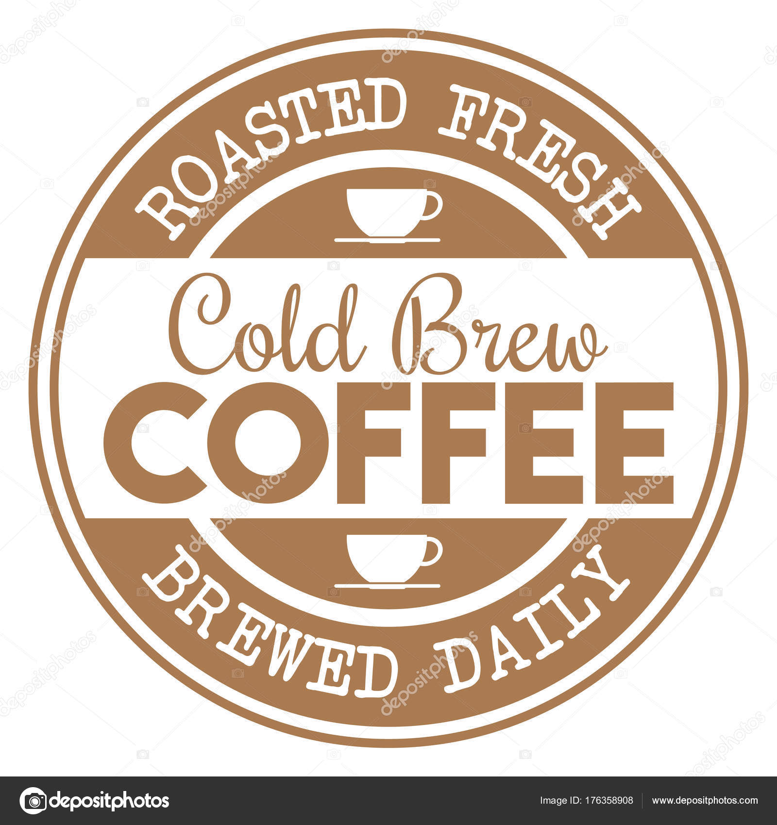 Cold Brew Coffee Rubber Stamp Stock Vector