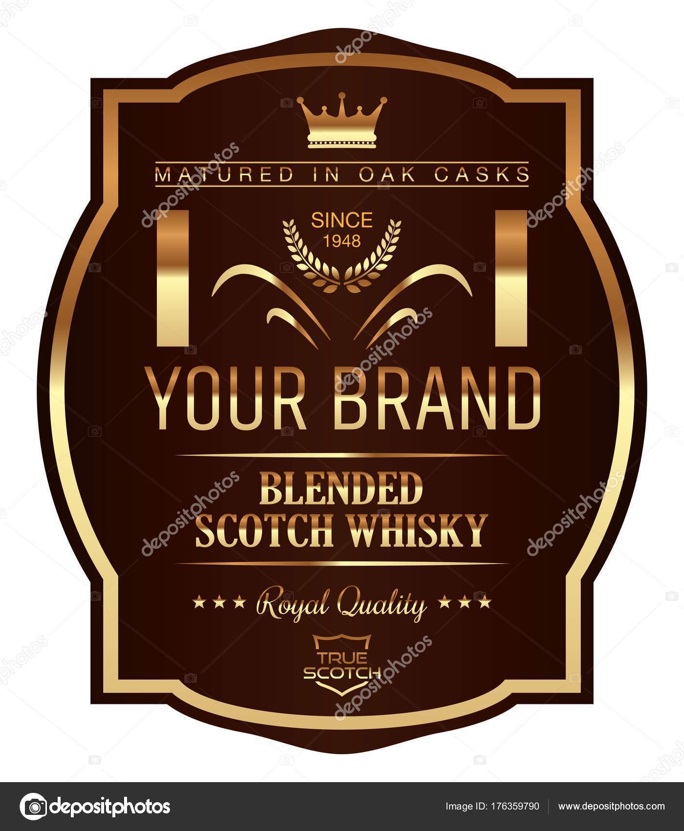 Vektor Whisky Label Vorlage Stockvektor