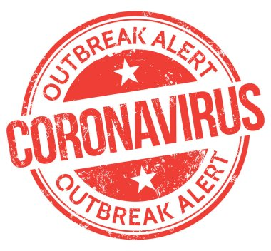 Coronavirus. Salgın alarmı. Vektör Damgası.