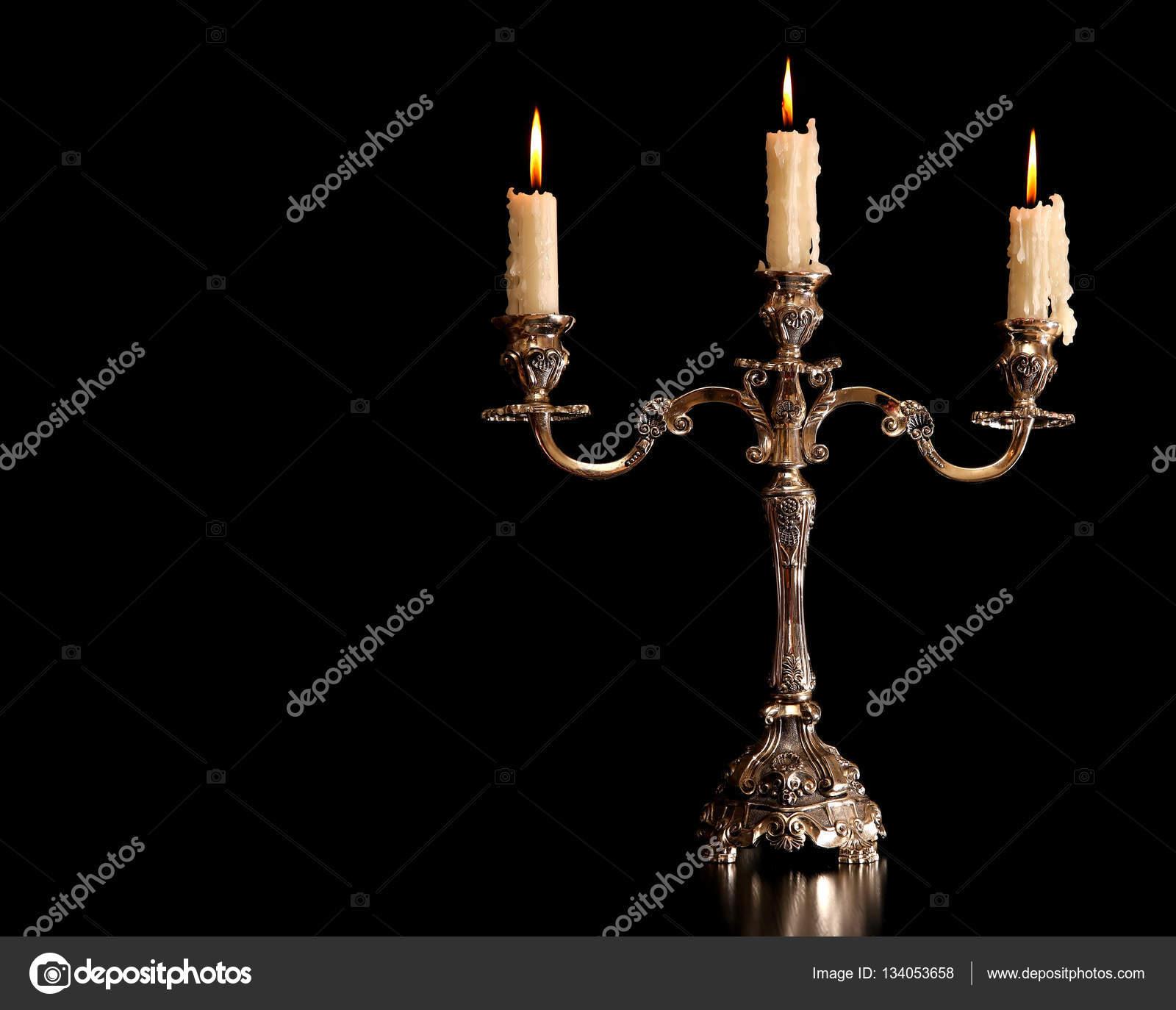 Burning Old Candle Vintage Bronze Candlestick Isolated On Black Background Photo By Natalyaa