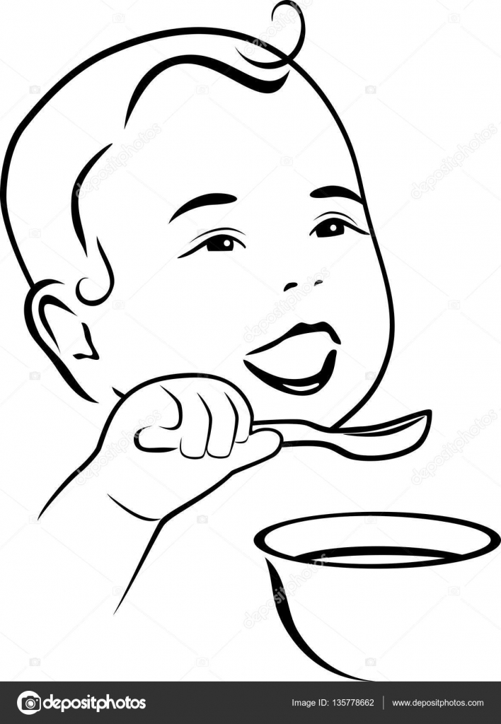 Baby learns to eat with a spoon. Contour drawing — Stock Vector ...