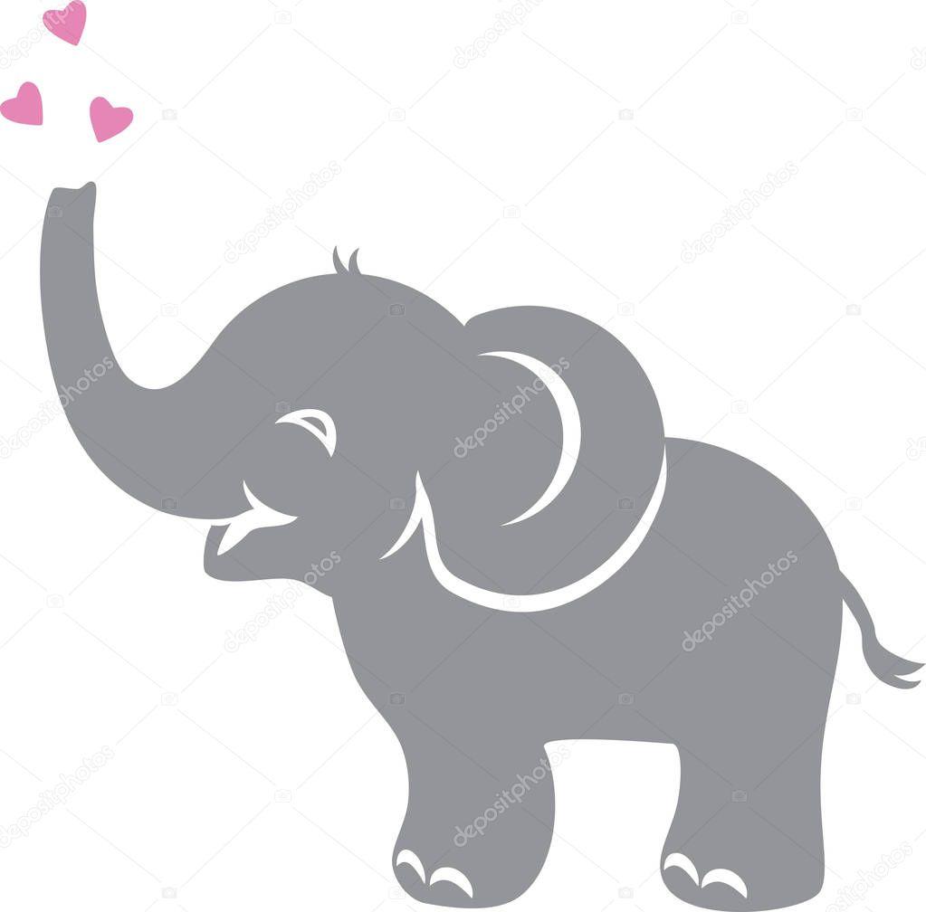 Funny Baby Elephant Hearts — Stock Vector © teddy2007b ...