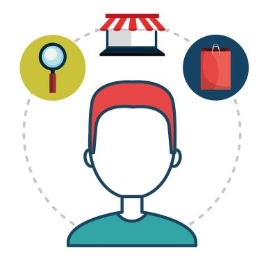 avatar man and shopping and ecommerce icon