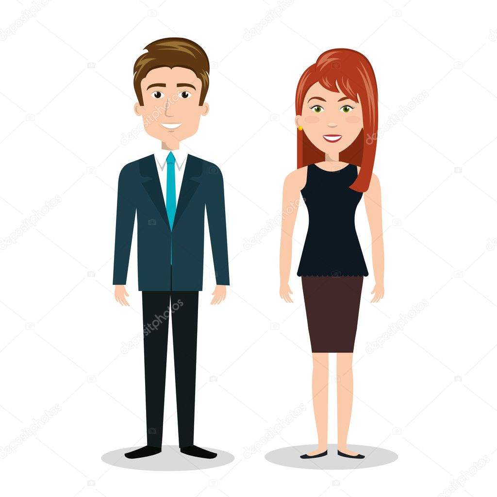 Cartoon Man And Woman Standing