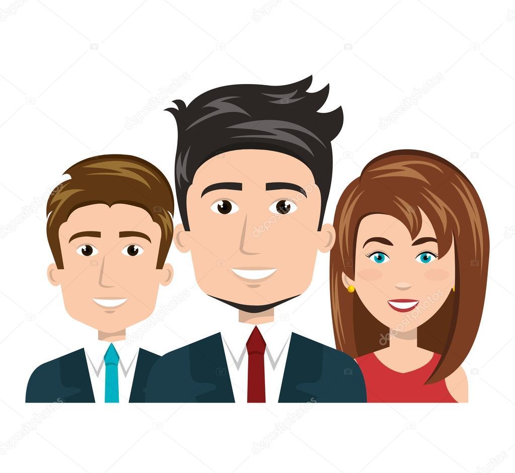 Desenhos Animados Homens E Mulher Feliz Trabalham Equipe