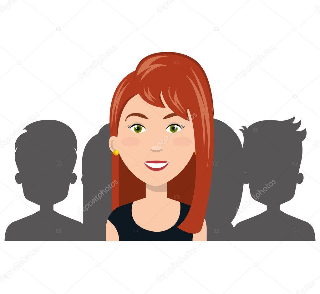 Recursos Humanos Mujeres Dibujos Animados Mujer Y Silueta Persona