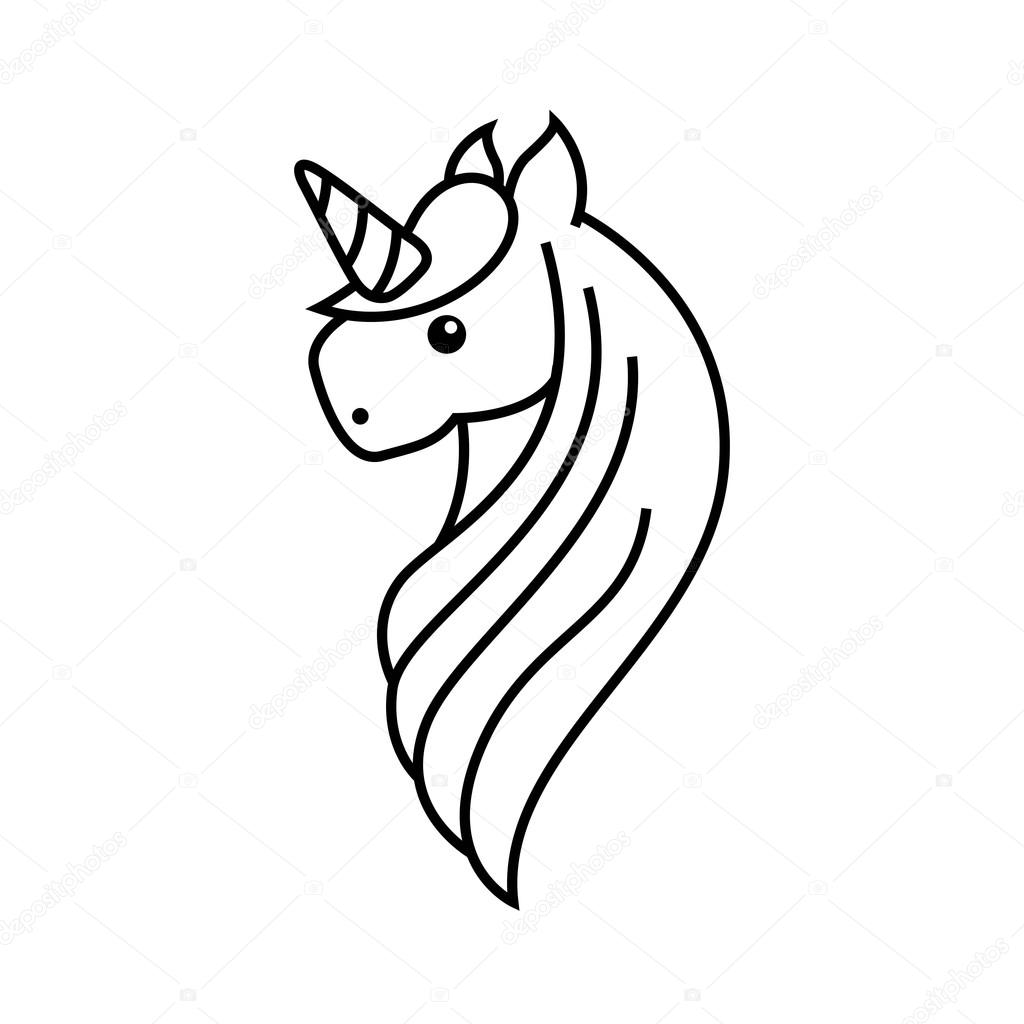 Stock Illustration Drawing Cute Unicorn Icon on disney characters