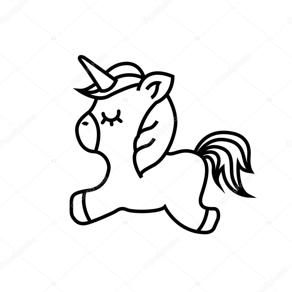 tekening schattig unicorn pictogram stockvector
