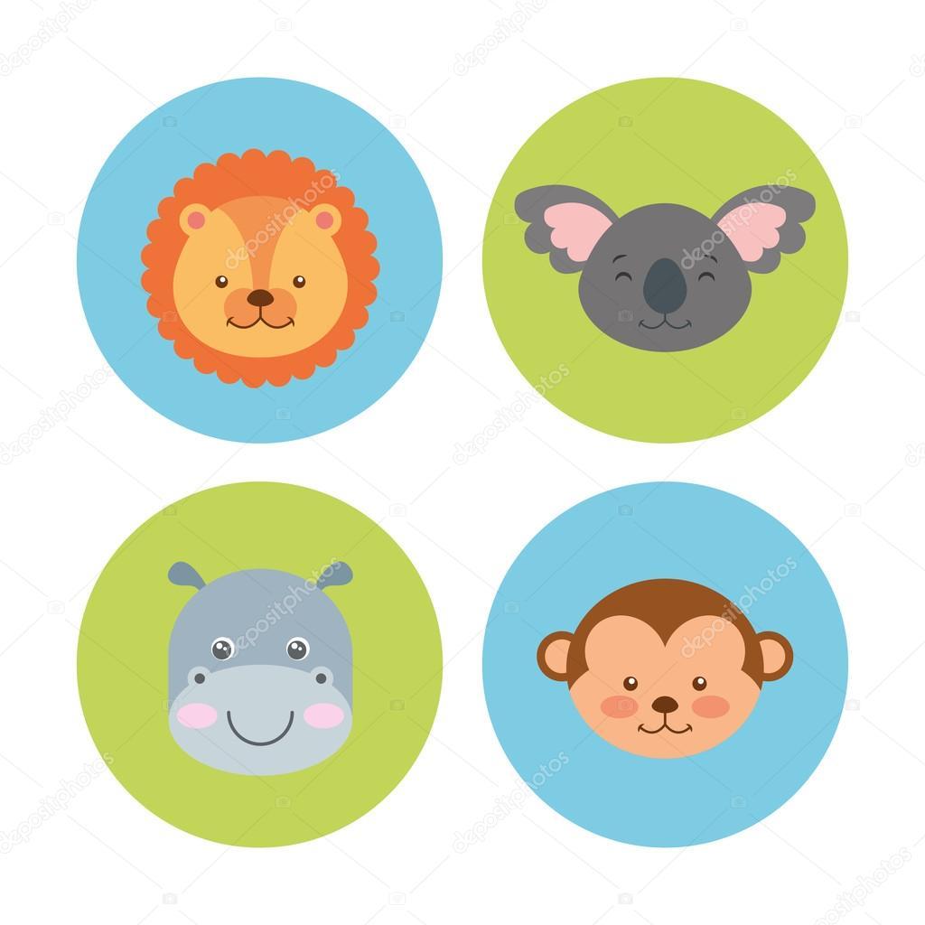 グループ動物かわいいアイコン — ストックベクター © yupiramos #125315236