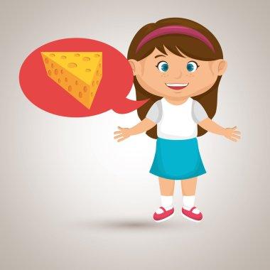 girl cartoon cheese sliced food