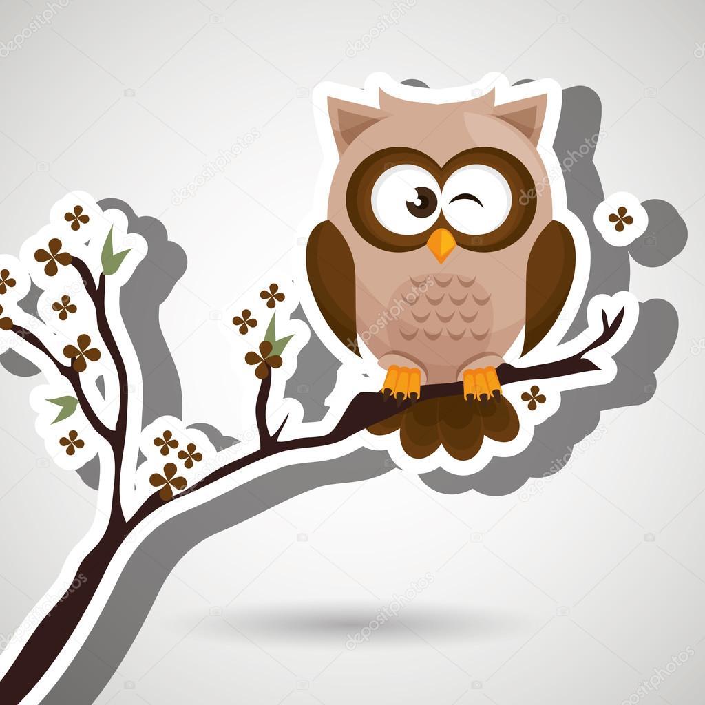 owl brown tree leaves brown