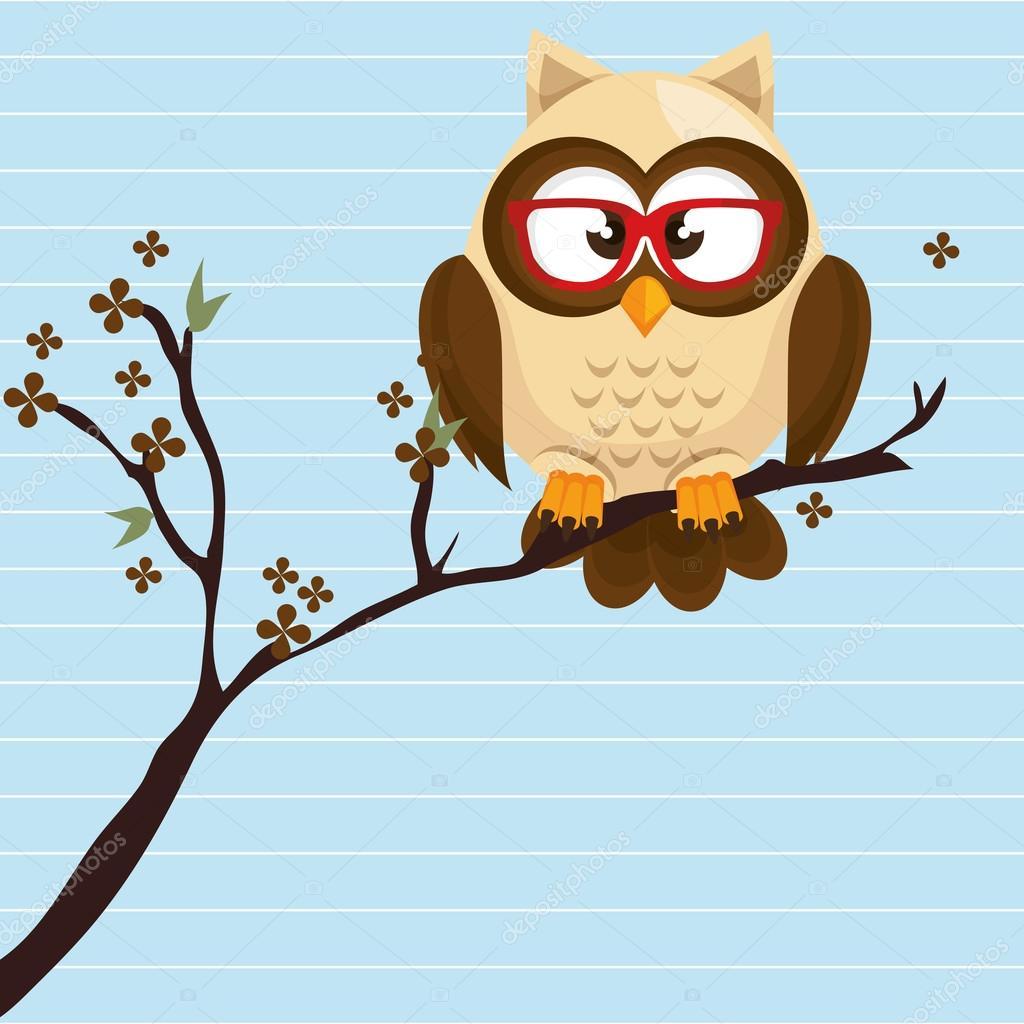 owl beige tree leaves beige