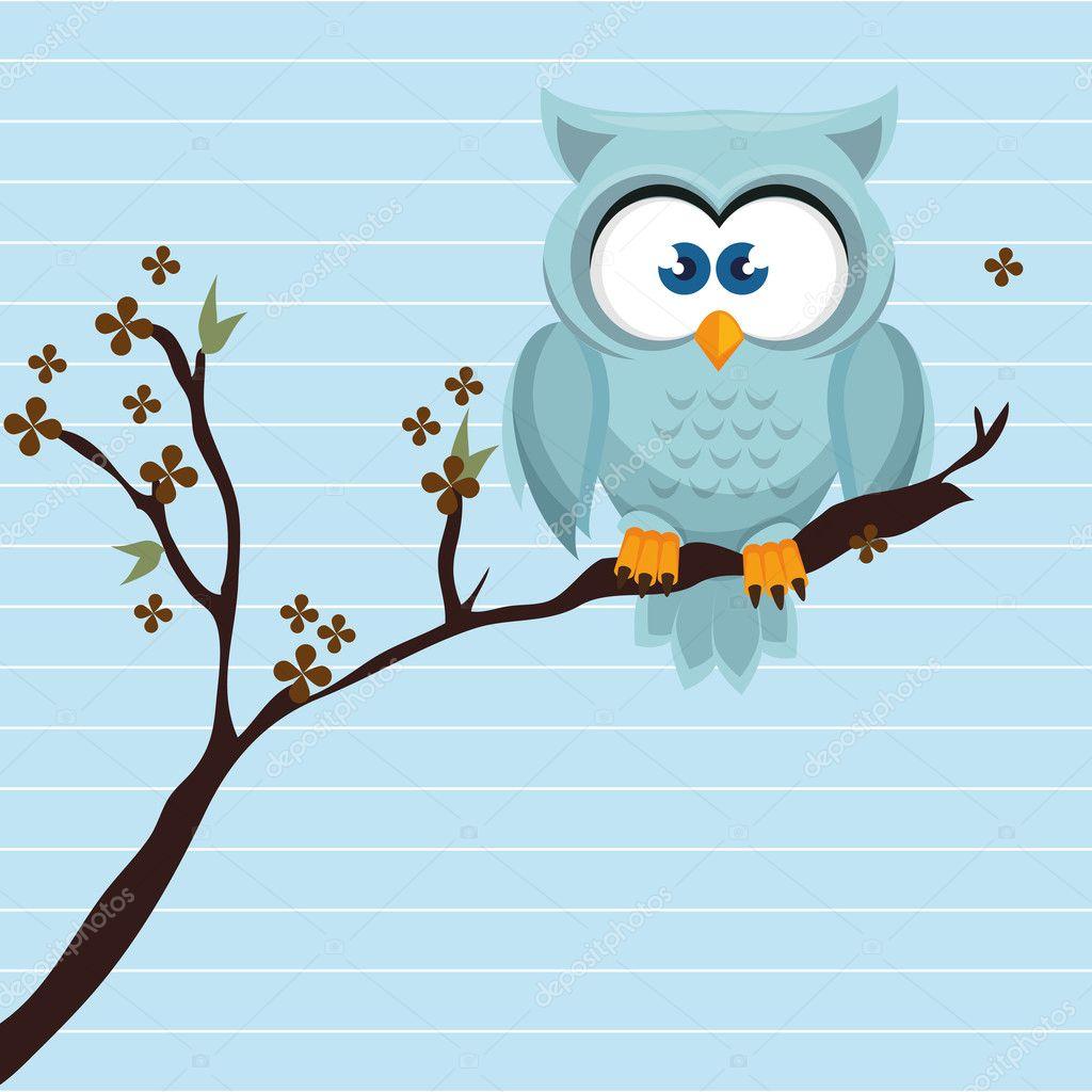 owl blue tree leaves blue