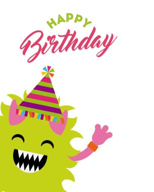 Monster characters in birthday party vector illustration design clip art vector