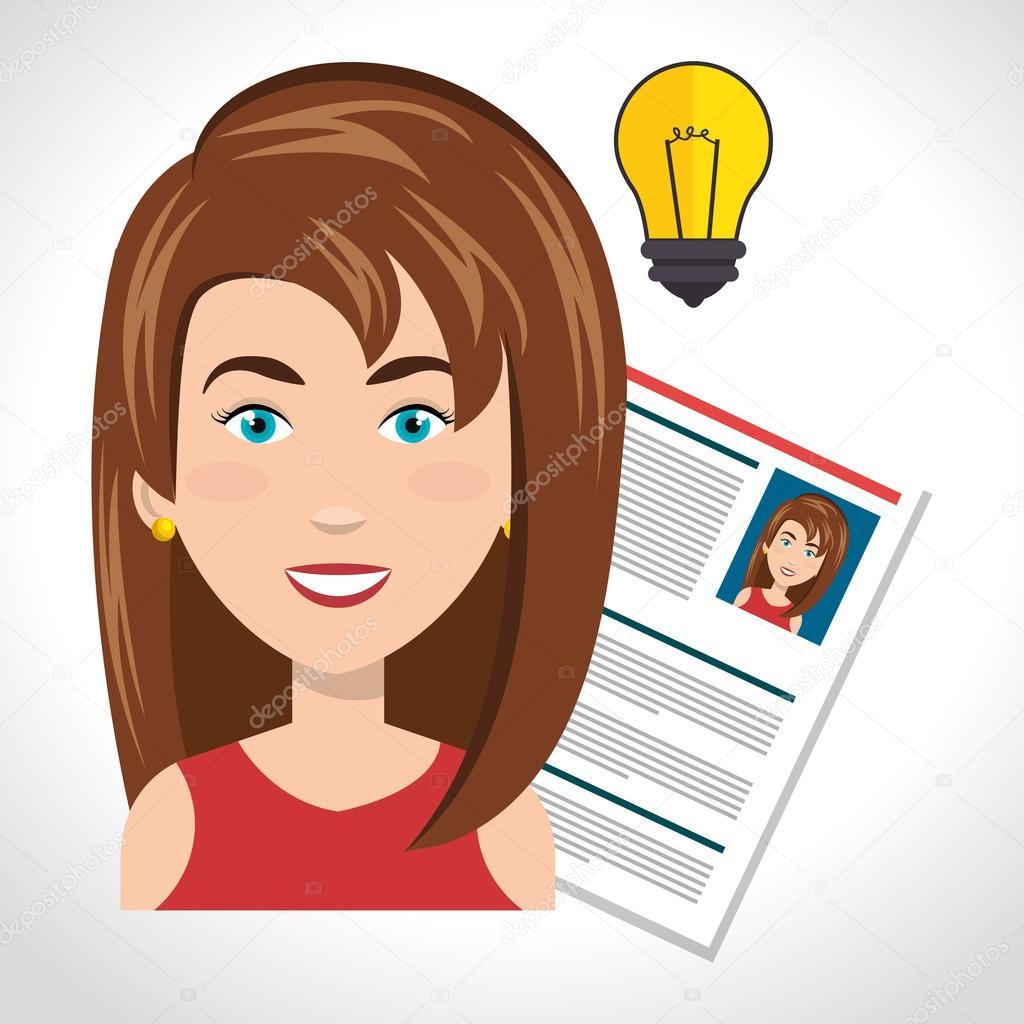 önéletrajz mosolygós kép nő és önéletrajz — Stock Vektor © yupiramos #126069906 önéletrajz mosolygós kép