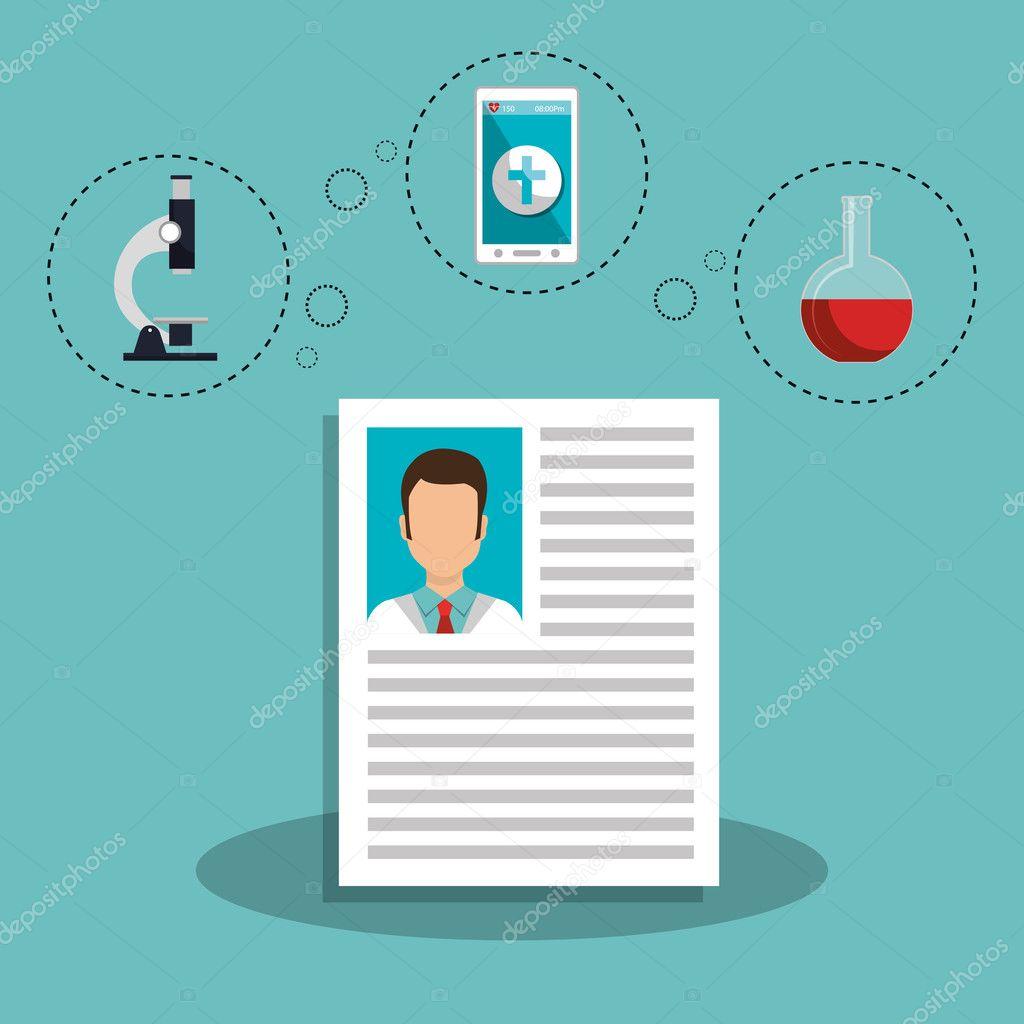 currículum médico — Archivo Imágenes Vectoriales © yupiramos #127117518