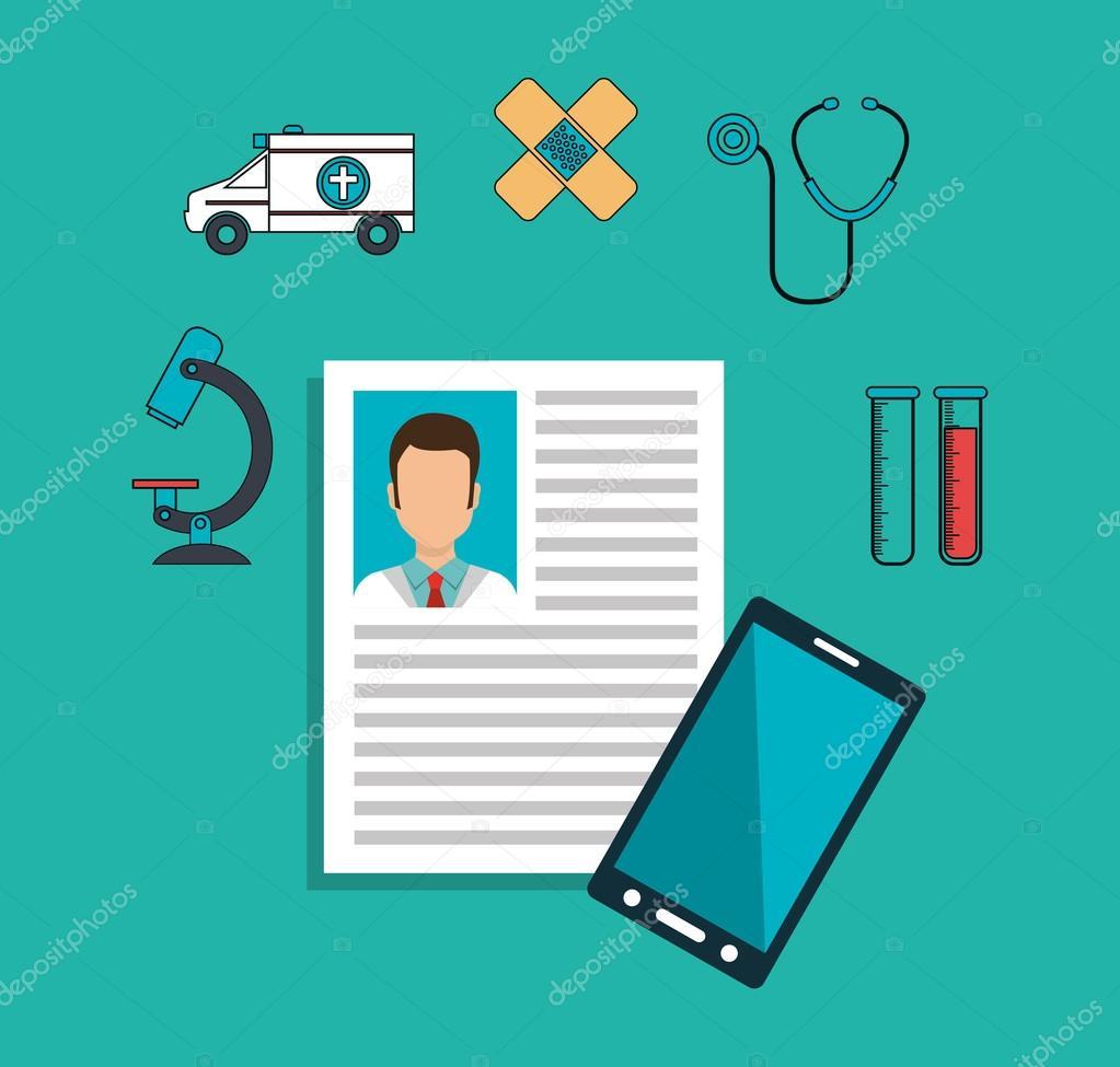 currículum médico — Archivo Imágenes Vectoriales © yupiramos #127117628