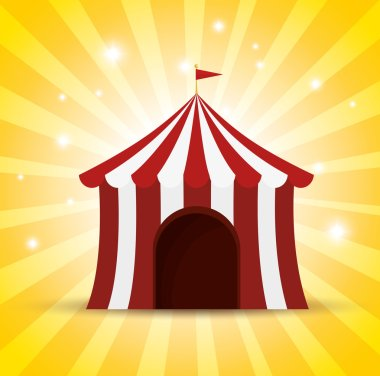 circus tent red and white shine background