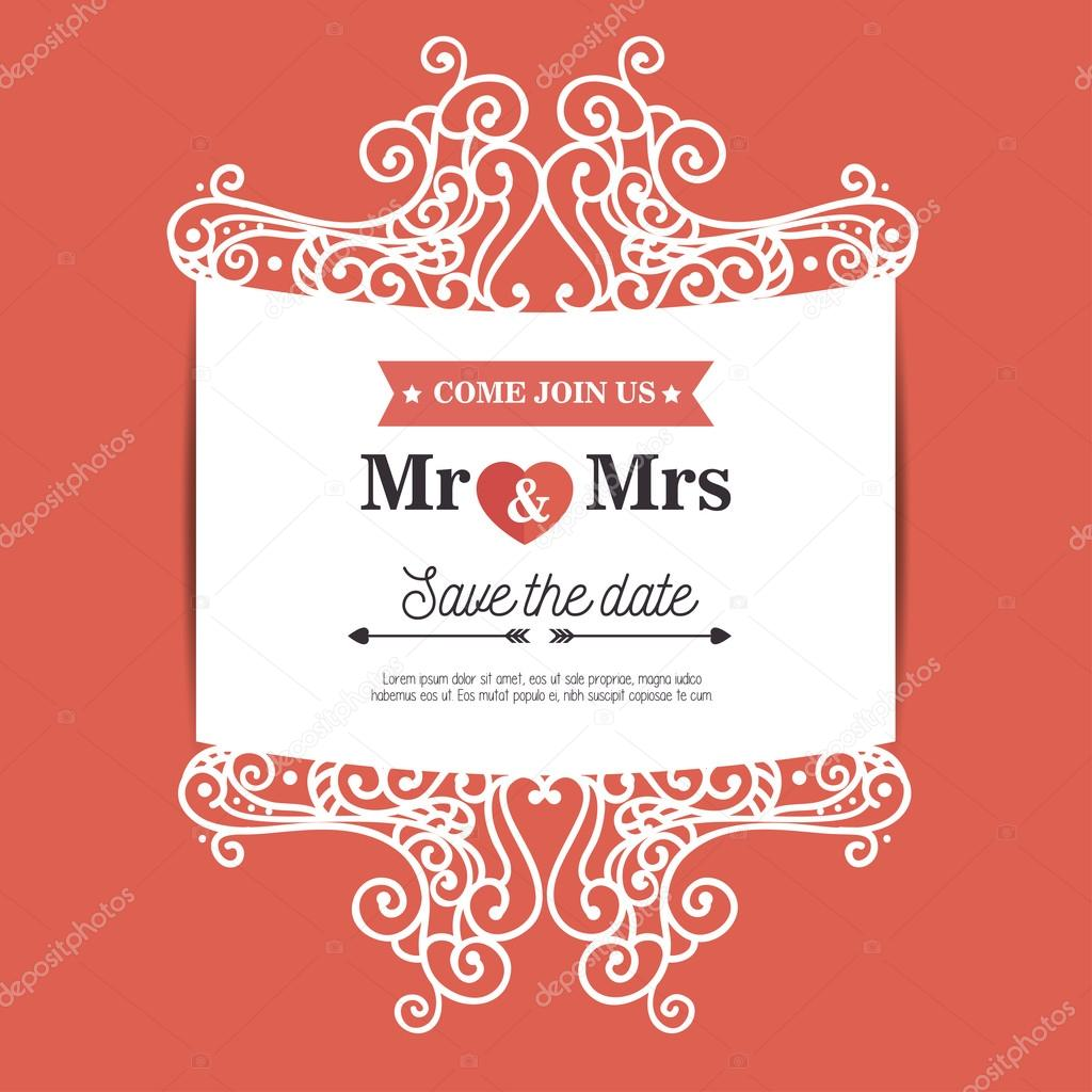 vintage wedding invitation orange background