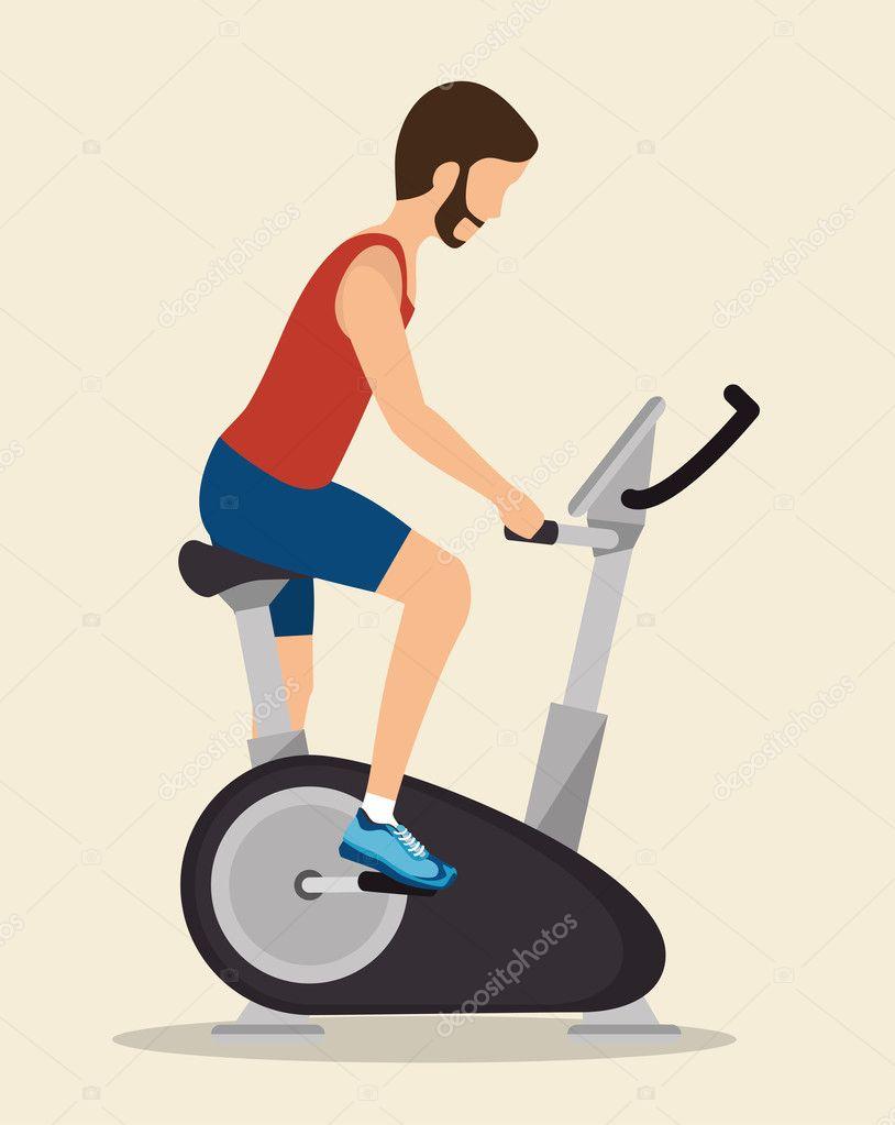 Mann-Übungen-statische Fahrrad-Symbol — Stockvektor © yupiramos ...