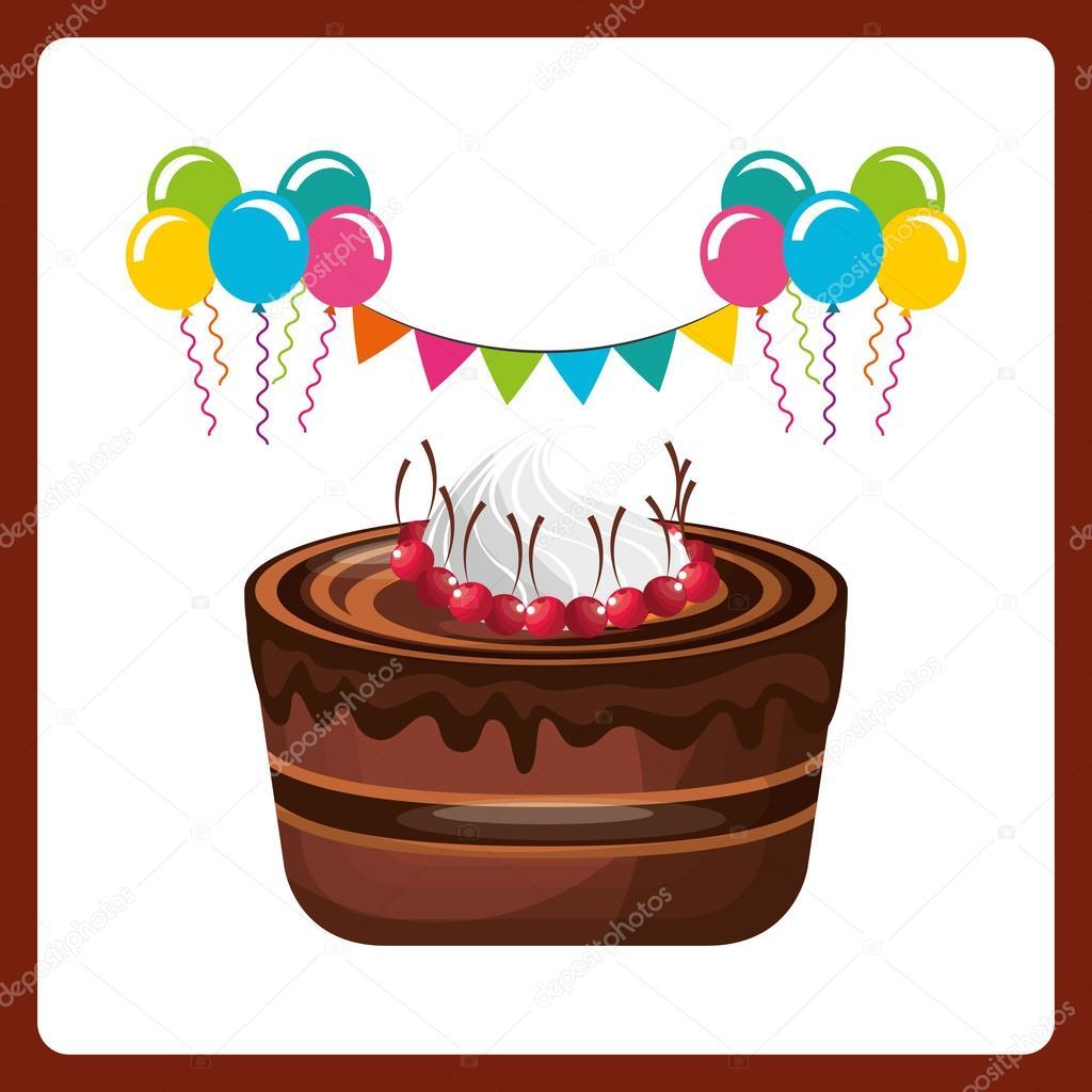 happy birthday celebration card with delicious cake ストック