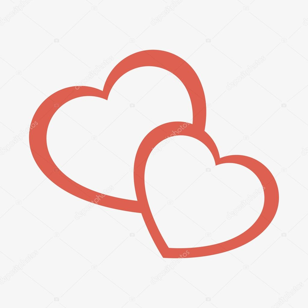 Hearts crossing love icon vector illustration design clipart vector