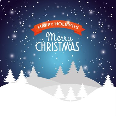 Happy holidays merry christmas landscape snow star design vector illustration eps 10 clip art vector