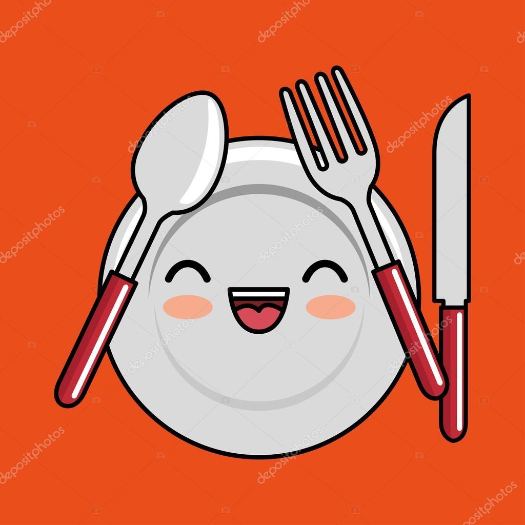 Clipart Plate And Fork Kawaii Plate Fork Spoon Knife Icon Design Stock Vector C Yupiramos 127872656