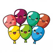 kawaii cute balloons party decoration design