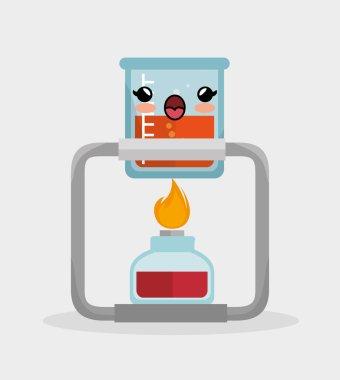 kawaii beaker lab with bunsen burner chemistry