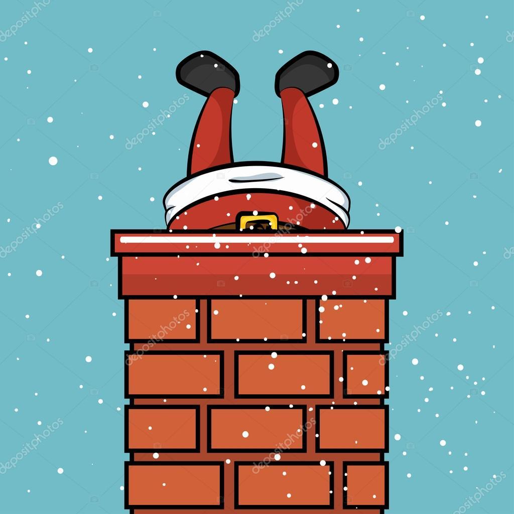 santa claus chimney stuck snow design ストックベクター yupiramos