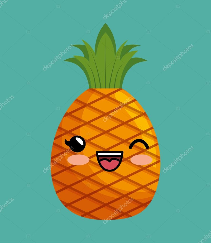 cute kawaii pineapple delicious icon design — Stock Vector ...