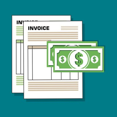 invoice document flat isolated icon