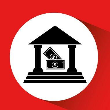 silhouette bank building bill money cash icon orange background