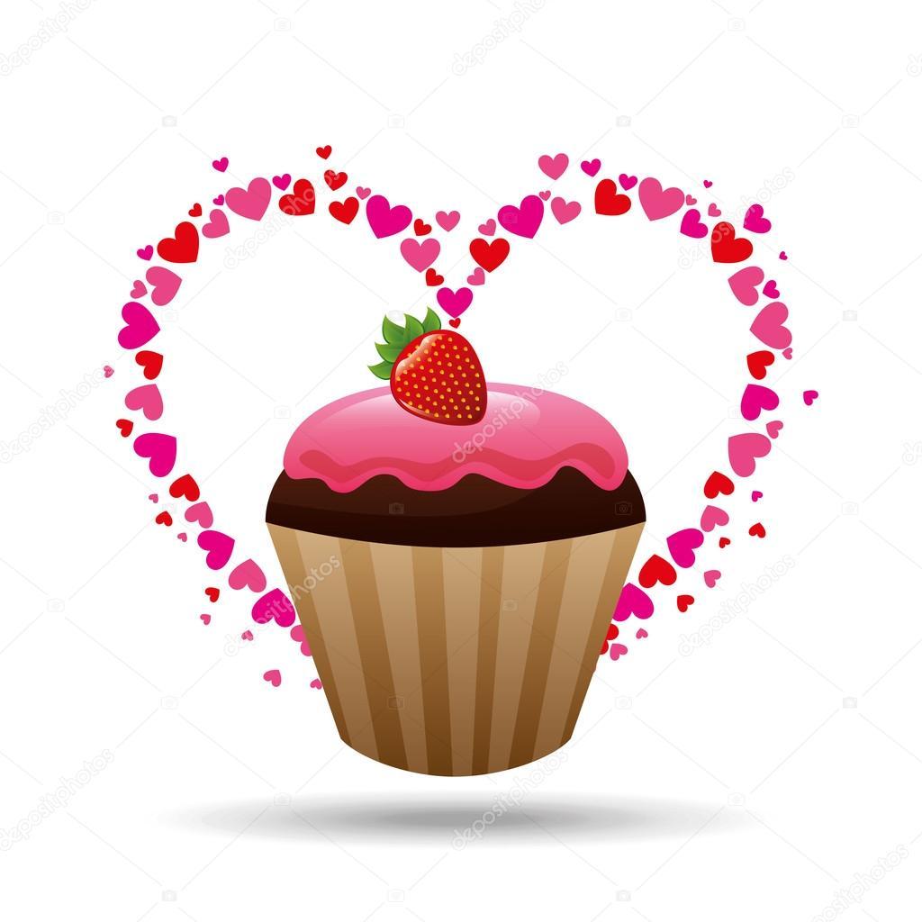 coração dos desenhos animados cupcake chocolate rosa morango e creme
