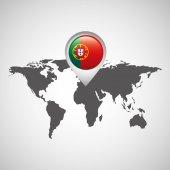 Fotografie Portugal-Flagge-Pin-Karte-design
