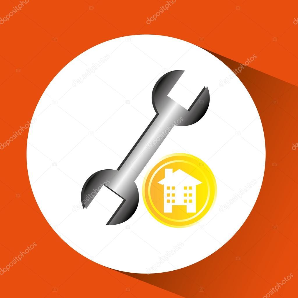 costruzione ristrutturazione grafica icona chiave inglese ...