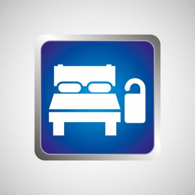 hotel bed sleep do not disturb button  design graphic