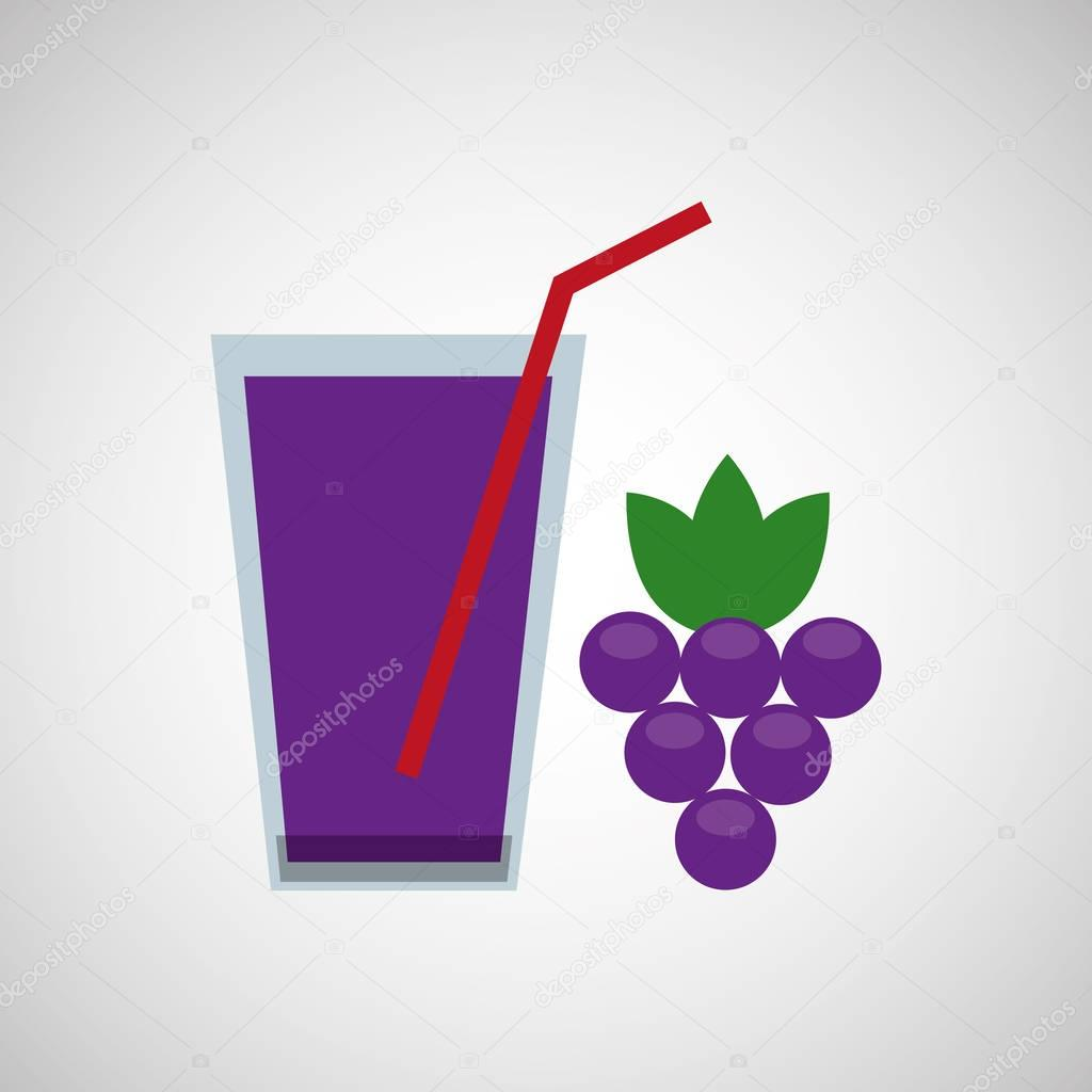 Glass juice cups design - Fresh Juice Grapes And Cup Glass Straw Design Stock Vector 129009426