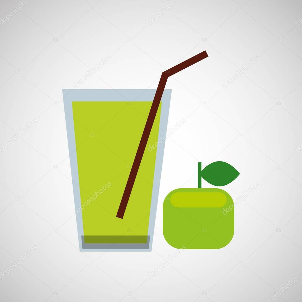 Glass juice cups design - Fresh Juice Green Apple And Cup Glass Straw Design Stock Vector 129009464