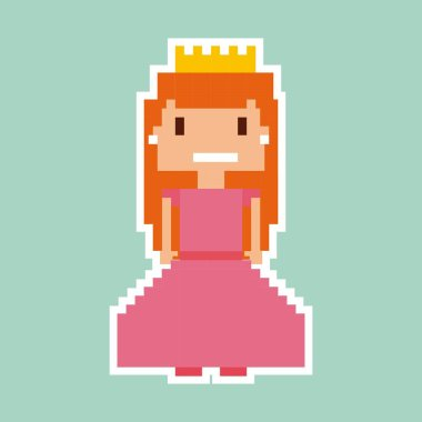 princess video game pixelated character