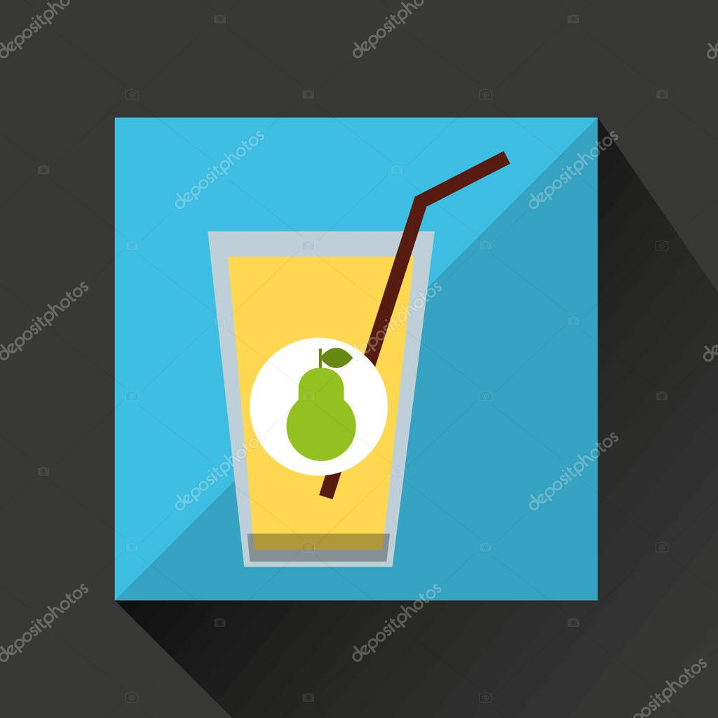 Glass juice cups design - Fresh Juice Pear And Cup Glass Straw Design Stock Vector 129010168
