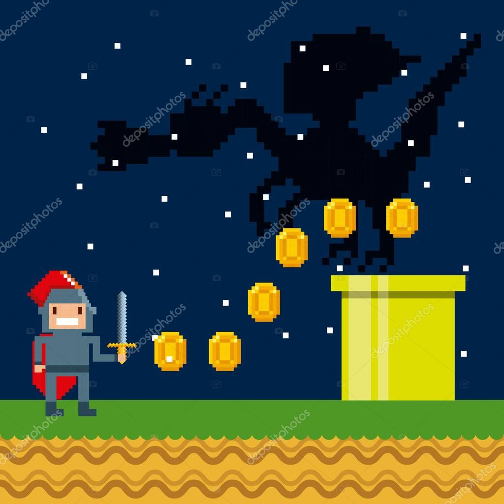 Pixelated video game icons vector illustration design stock vector