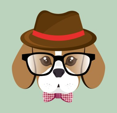 cute hipster doggy hat glasses bow